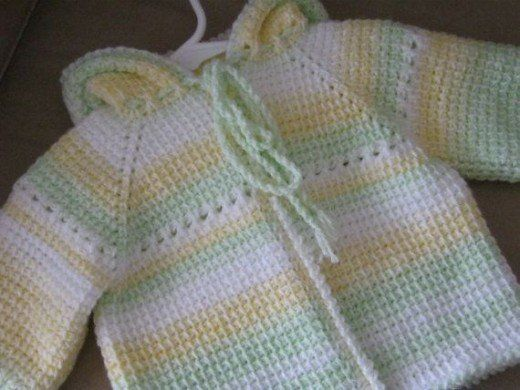 Tunisian Crochet multi-colored baby sweater More