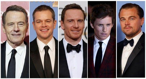 Nomeados ao Oscar 2016 de melhor ator: Bryan Cranston ('Trumbo'), Matt Damon ('Perdido em Marte'), Michael Fassbender ('Jobs'), Eddie Redmayne ('A Garota Dinamarquesa'), e Leonardo DiCaprio ('O Regresso') (Foto: Reuters)