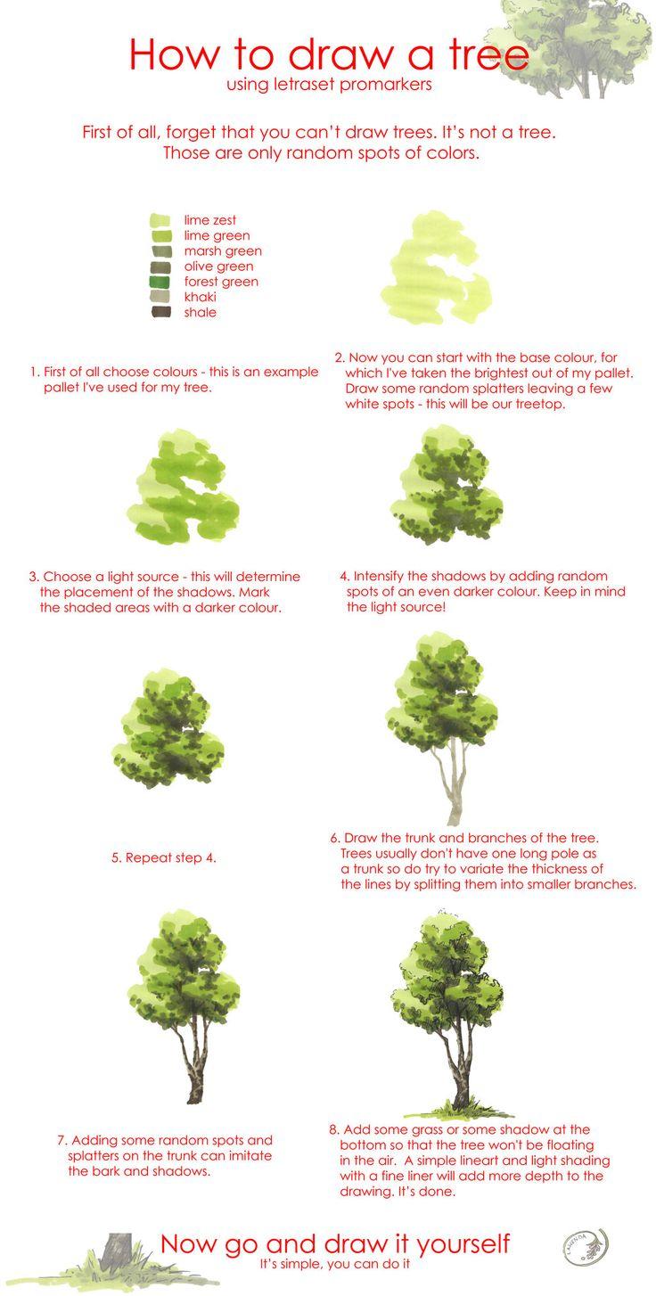 Tree drawing tutorial by Morpho-Deidamia.deviantart.com on @deviantART