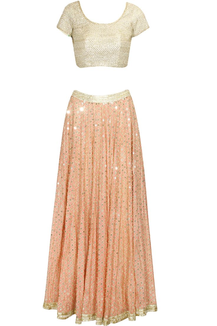 Blush and gold gota and sequins work lehenga set available only at Pernia's Pop Up Shop.