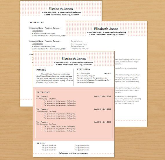 instant download resume package resume template cover letter template reference page template - Sample Cover Letters For Resumes