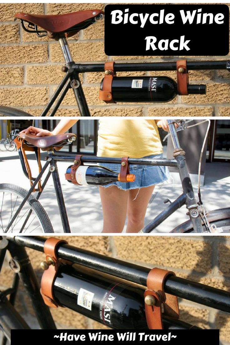 Bicycle Wine Rack made of leather and brass. Easily attaches to most bike frames with brass fasteners. #wine #bicycle #ad #winerack