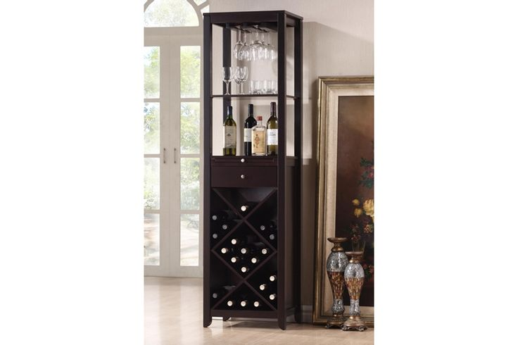 Austin Brown Wood Modern Wine Tower | Affordable Modern Furniture in Chicago