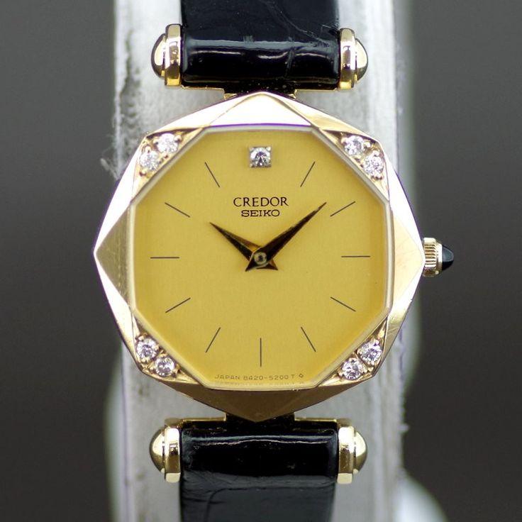 【中古】SEIKO(セイコー) 8420-5160 クレドール クオーツ K18 ダイヤ カーフ レディース ゴールド文字盤時計/18金無垢にダイヤがあしらわれたケースは大変美しいデザインです。/新品同様・極美品・美品の中古ブランド時計を格安で提供いたします。
