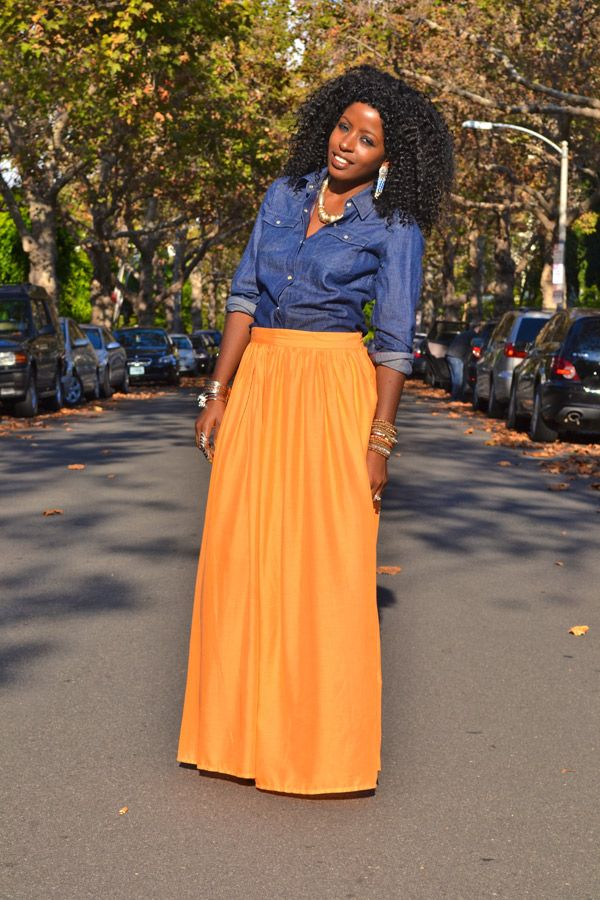 Denim Shirt + Orange Maxi Skirt...could totally work as a game day outfit!