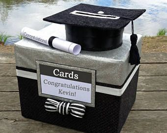 Rhinestone Graduation Card Box with grad cap cut out and large