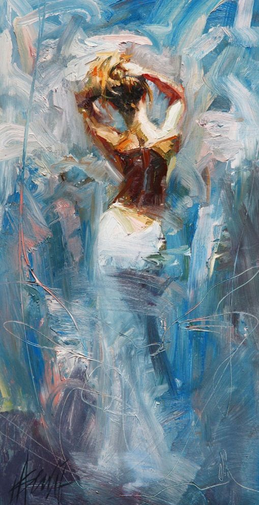 Blissful Henry Asencio, lady with a white backless dress in beautiful blues. Lovely painting.
