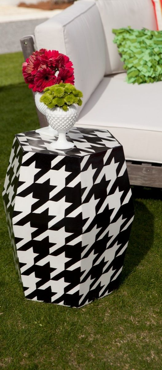 Our David Bromstad (@bromco) Houndstooth Garden Stool adds eye-catching angularity and a pop of pattern to casual settings.: