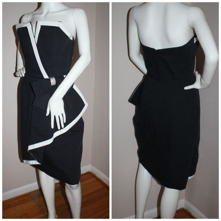 Vintage 80s Victor Costa strapless party dress sculpted black + white 8 36-27-39 #VictorCosta #Peplum #Party