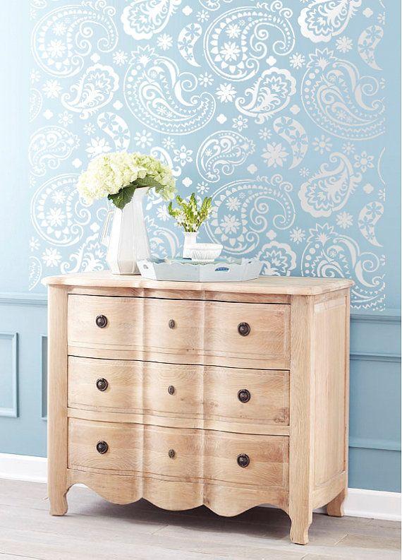 Pared plantilla Paisley Flourish encaje patrón pared decoración de la habitación hecha por OMG plantillas casa mejoras Color pinturas 0039