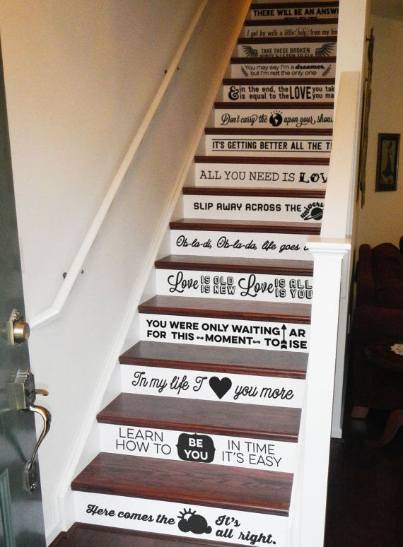 Ultra Stylish High Design Beatles Lyrics Stair Decals. More Beatles stair decals. Because we cannot get enough of this amazing design. Hate the toot my own horn, but... yeah, these vinyl stair decals are completely wonderful. Yay!