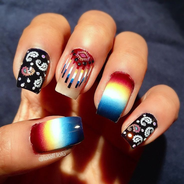 Native American nail art inspired from a video of a student, who did a amazing job with the blend roll and I couldn't resist to do a mani recreation of this incredible work. : lacqueristas