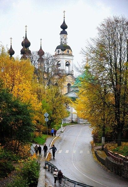Autumn in Plyos, picturesque town on the Volga River, Russia.