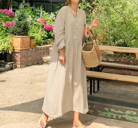 Linen loose tunic dress / Linen long dress / flared dress / romantic dress / loo…