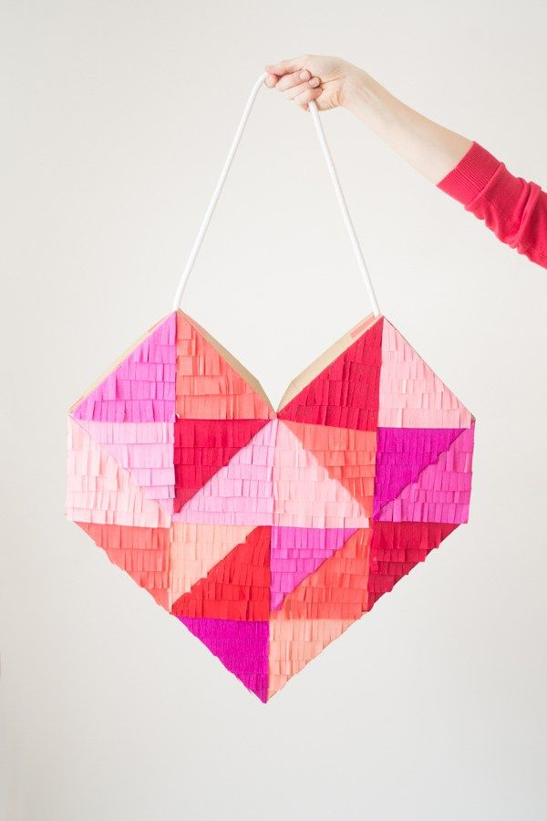 A Bright, Colorful & Fringe-Filled Geometric Heart DIY   this heart of mine