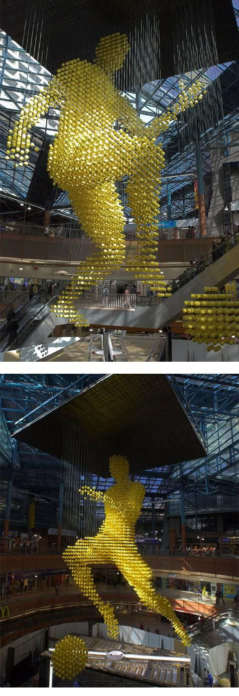 Ballman by Ratcliffe Fowler Design is a giant sculpture made with 3,000 footballs to be displayed in the atrium of the Carlton Centre shopping mall in downtown Johannesburg, South Africa commissioned by Nike.