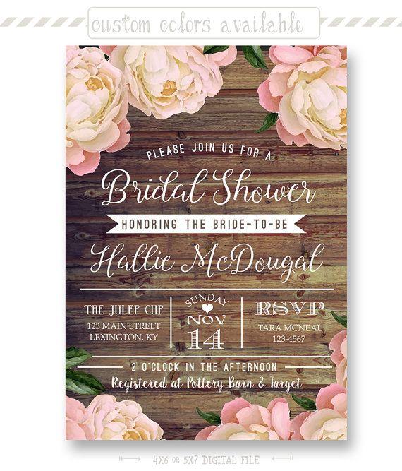 Rustic Floral Bridal Shower Invitation Floral by shopPIXELSTIX