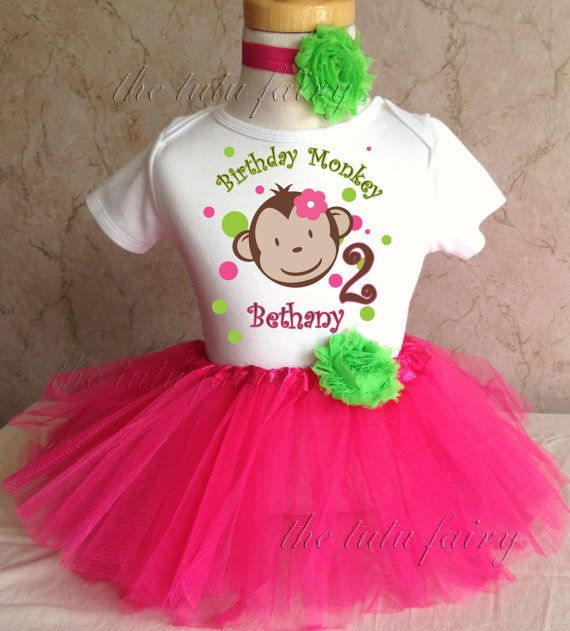 Pink green Mod Monkey Face Polka Dots first 1st by TheTutuFairy, $22.99