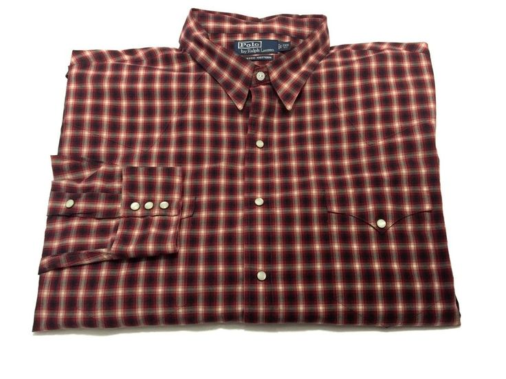 Polo Ralph Lauren 2xb Classic Western Pearl Snap Red Plaid