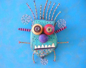 Monstruo de Bobby, escultura Original de la pared del objeto encontrado, talla de madera, decoración de la pared, regalos únicos, pintados a escultura, Fig Jam Studio