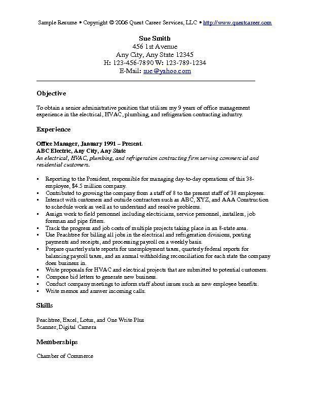 Plumber Resume Objective Examples