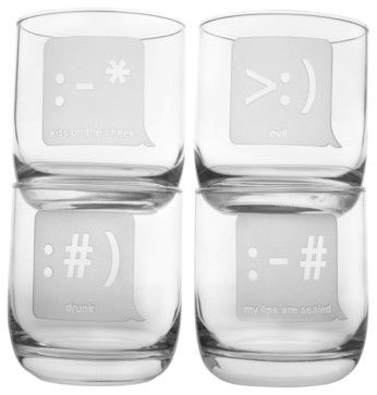 Txt U Room Tumbler 10oz, Set of 4 - eclectic - cups and glassware - Rolf Glass