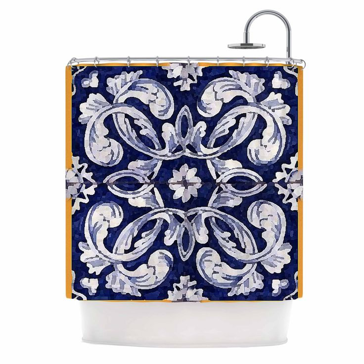 Kess InHouse Oriana Cordero Lisboa Blue Yellow Shower Curtain