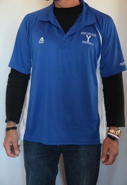 YORK College Baseball Sport's Polo shirt. Size L.