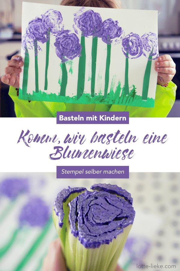 Basteln mit Kindern im Frühling: Wir stempeln mit Sellerie eine Blumenwiese
