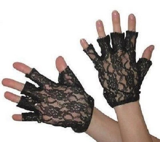 80s Black Short Lace Fingerless GlovesGoth Ladies Halloween Fancy Dress Madonna