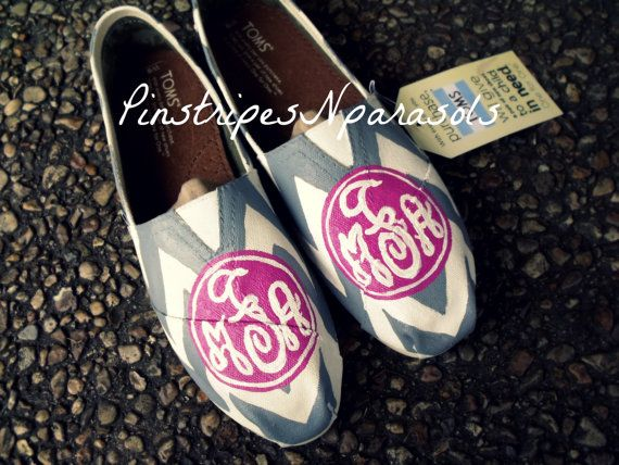Monogram Chevron Toms. from PinstripesNparasols on Etsy!
