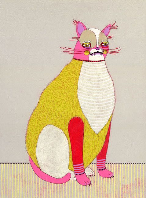 scaredy cat, jennifer davis: Cat Art, Animal Paintings, Catart, Cat Illustrations, Kitty Kat, Fat Cat, Jennifer Davis, White Cat, Baby Cat