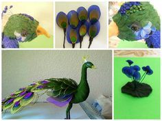 Peacock of nylon Peacock -different color pieces of nylon (we sell kits) ..Wire, different diameters, objects to cheat on them wire, glue.