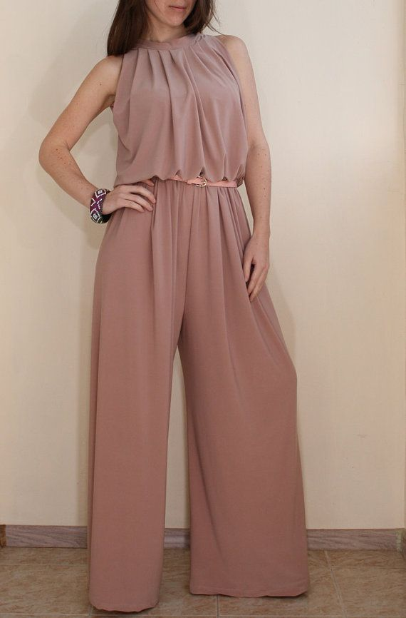 Women Jumpsuit Wide leg Palazzo Jumpsuit in Blush by KSclothing