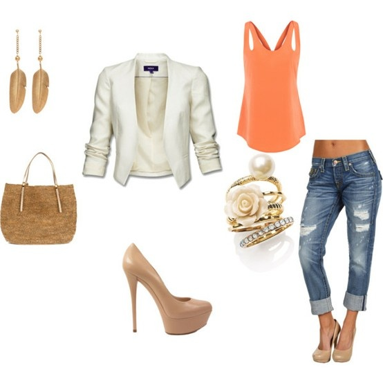 blazer and jean outfit: Jacket Heels, Fashion, White Blazers, Style, Nude Heels, Distressed Denim, Orange Tank