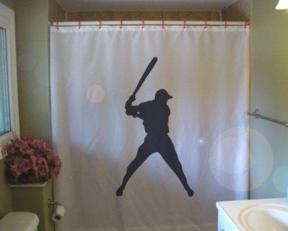baseball swing Shower Curtain bat sport major league boy fun baseballer bathroom decor kids bath curtains custom size long wide waterproof  – Products
