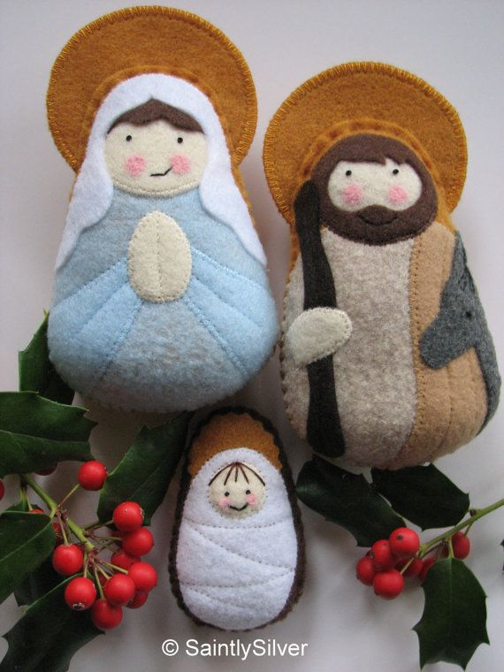 QUICK SHIP...Small Nativity Felt Saint Softie Set por SaintlySilver