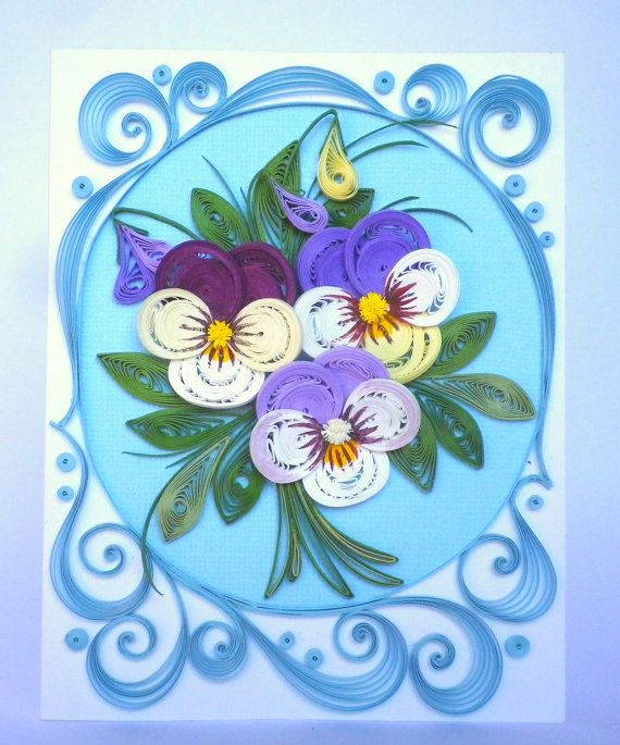 100% Handcrafted - 10 cm x 12.7 cm sized card with refined spring pansies, perfect for framing and, or wall art, this greeting card will make every