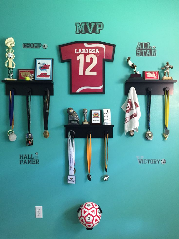 Trophie display ideas, metal display, sports, soccer room