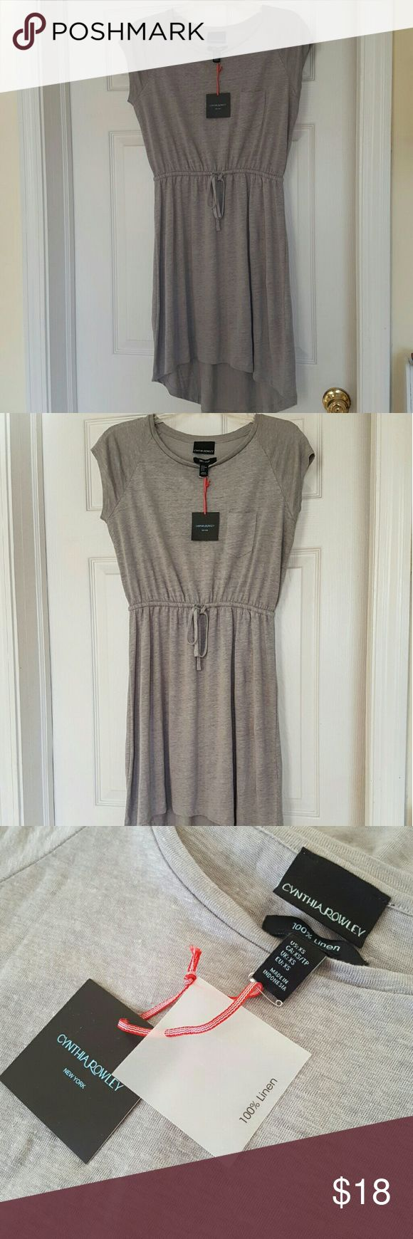 Cynthia Rowley gray linen summer dress, mid length New with tags, never worn 100% cotton, linen dress. Medium gray. Crew neck. Back hem is longer than front. Length from neckline to bottom front is 31 inches. Back hemline comes down to 37 inches. Draw string waist. Love it, but the length is longer than I prefer. Cynthia Rowley Dresses Midi