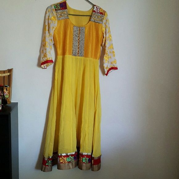 Beautiful Indian Anarkali  dress Yellow and red beautiful 3 piece Indian dress .worn once. Excellent condition and extremely beautiful Dresses Maxi