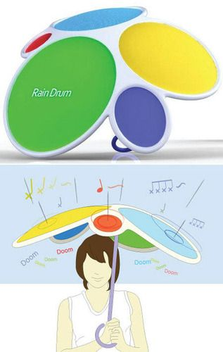 Rain Drum!: Drums Umbrellas, Front Doors, Cool Inventions Ideas, Cool Ideas, Fun, Kids Gifts, Random Stuff, Borderline Genius Ideas, Rain Drums