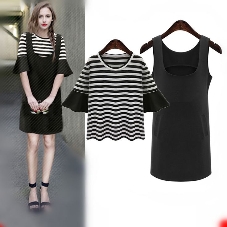 2017 Spring Summer Women Dresses Casual Plus size Two pieces dress T+Tank  Female  Dress