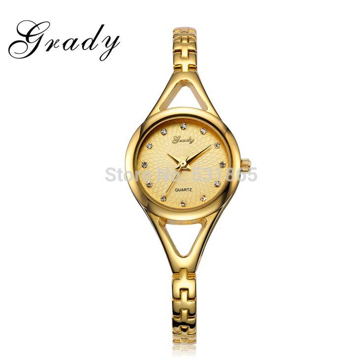 Грейди Женщины часы brand браслет серебро золото цвет Японии movt обратно из нержавеющей стали кварцевые часы RELOJ MUJER