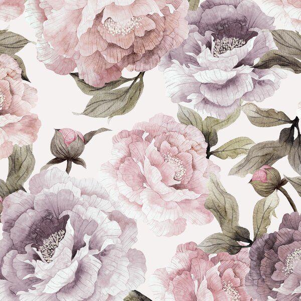 Senger Bloom Peel And Stick Wallpaper Panel Pink And Purple Wallpaper Grey Floral Wallpaper Wallpaper