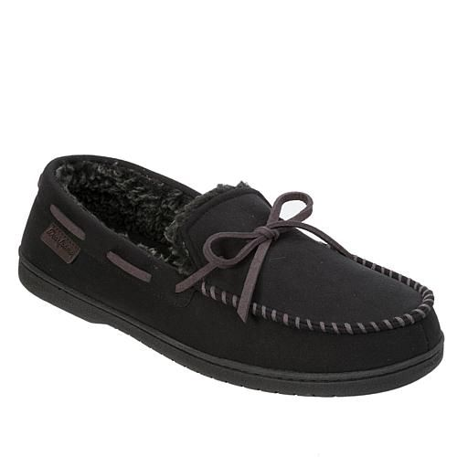 Dearfoams Mens Moccasin Slipper with Whipstitch Trim - Brown