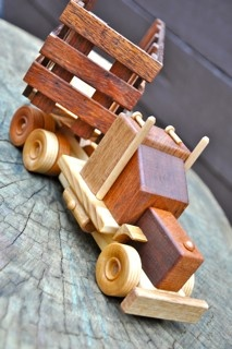 Vintage Wooden Truck with Cattle Trailer