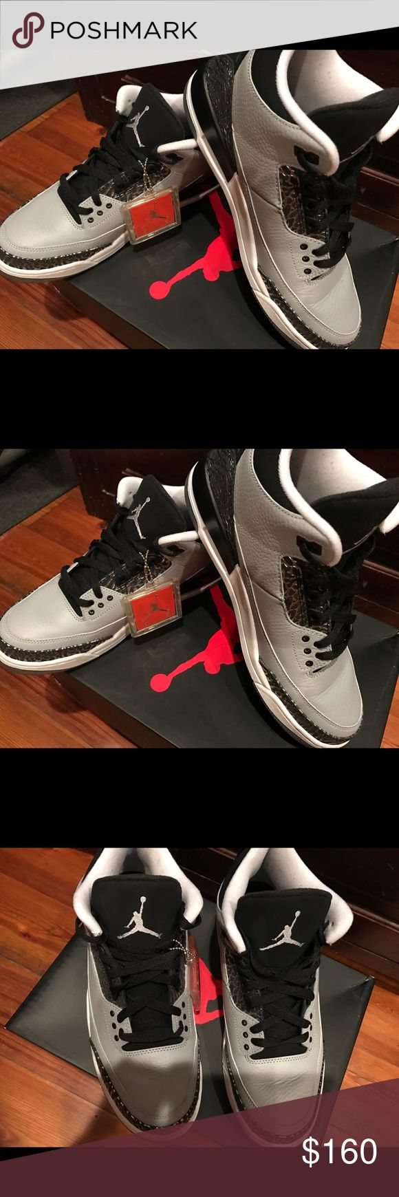 Air Jordan 3 Wolf Gray - Worn twice, like NEW Air Jordans 3 Wolf Gray - EXCELLENT CONDITION, Worn twice, LOOK BRAND NEW- kept in original box which is included when purchased Jordan Shoes Sneakers