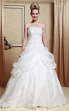 A-line Strapless Scalloped-Edged Neckline Organza Floor-leng... – USD $ 195.99