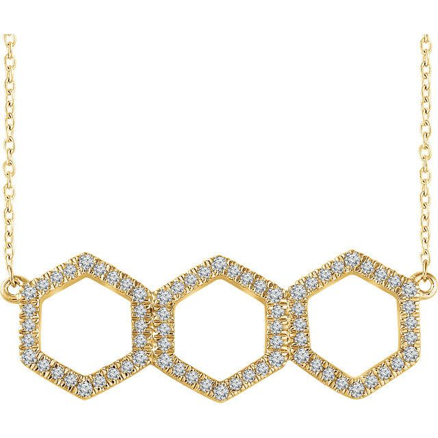 Triple Hexagon Diamond Necklace; 0.25 carats total weight diamonds in 14kt yellow gold. Also available in rose and white gold.
